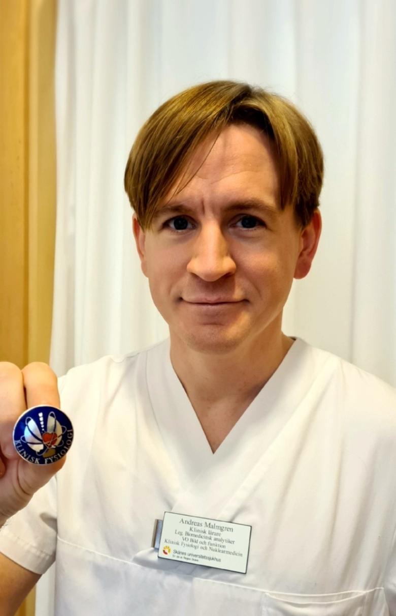 Andreas Malmgren, biomedicinsk analytiker på Klinisk fysiologi och nuklearmedicin, Skånes universitetssjukhus.