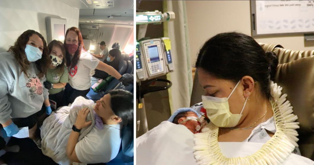 Tre sjuksköterskor hjälpte till vid oväntad födsel på flygplan