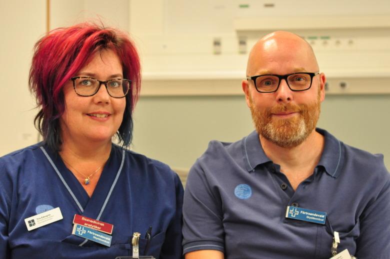 Tina Edengrim och Johan Cederlind är skyddsombud för Vårdförbundet på Capio Sankt Görans sjukhus i Stockholm.