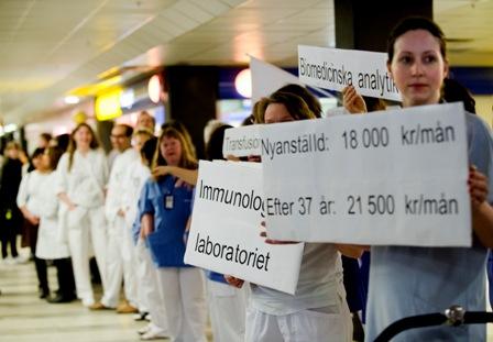 Biomedicinska analytiker protesterade för högre lön