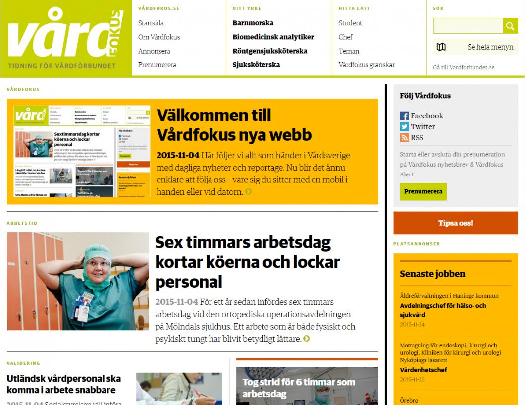 Välkommen till Vårdfokus nya webb