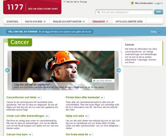 Cancer nytt tema på 1177.se